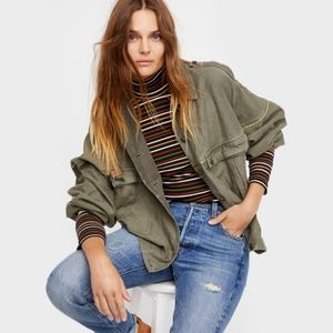 Free People Slouchy Military Jacket Moss
